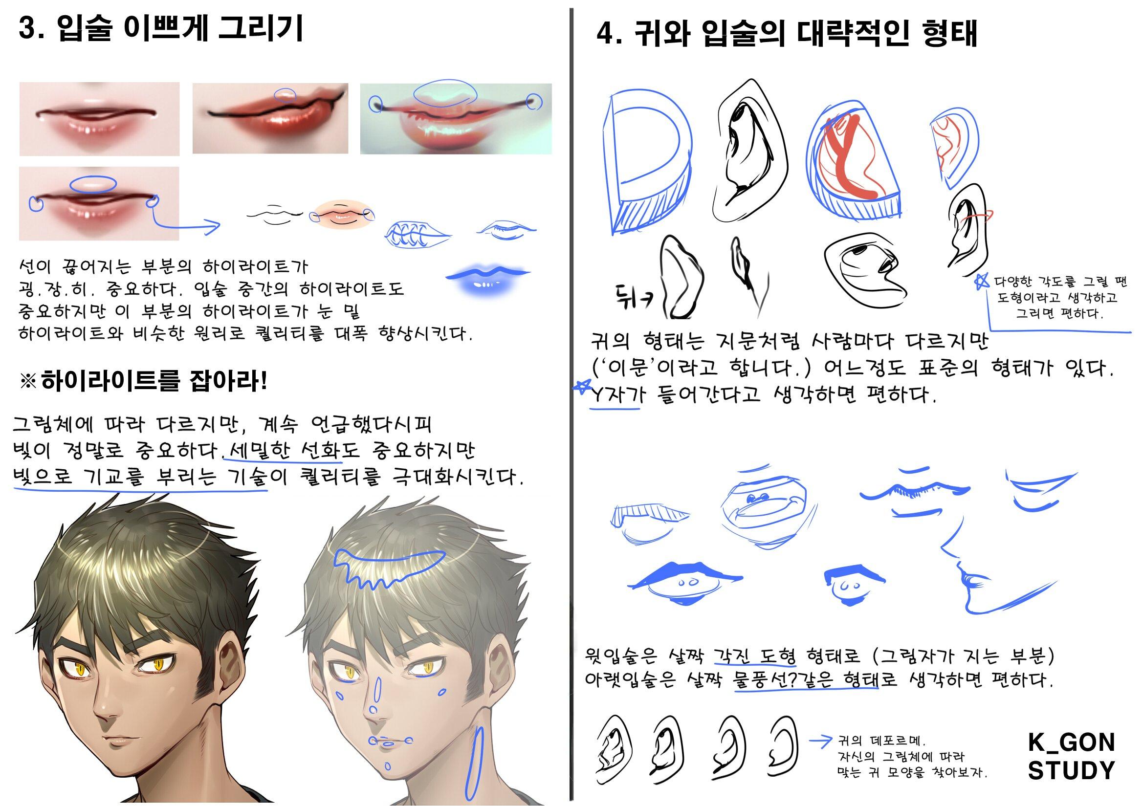 케이곤의 사이툴 기초 얼굴 드로잉/채색 강좌 4 - 입술 이쁘게 그리기, 귀와 입술의 대략적인 형태