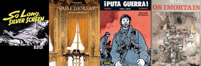 두 작가가 주목하는 프랑스의 만화가들. 왼쪽부터 블러치(Blutch), 크리스토프 블랭(Christophe Blain), 자크 타르디 (Jacques Tardi), 엔키 빌랄(Enki Bilal)의 작품들.