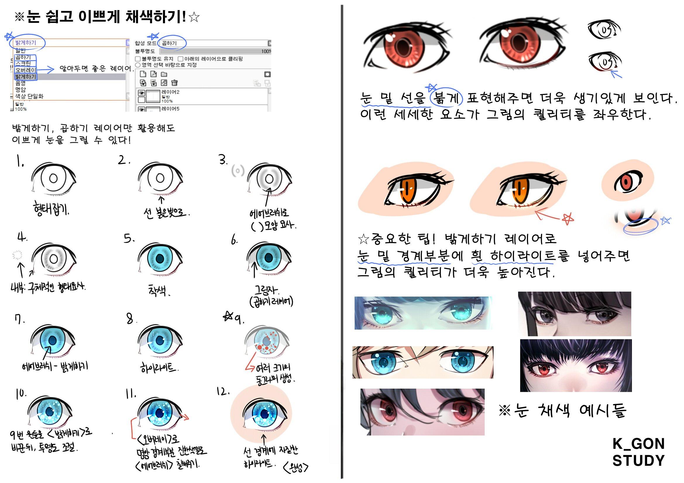 케이곤의 사이툴 기초 얼굴 드로잉/채색 강좌 2 - 눈 쉽고 이쁘게 채색하기!