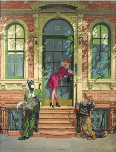『블락사드(Blacksad)』의 스페인 그림 작가 후안호 구아르니도(Juanjo Guarnido)의'뉴욕에서의 블락사드(Blacksad à New York)' 2014년 작. 43,750 유로에 판매