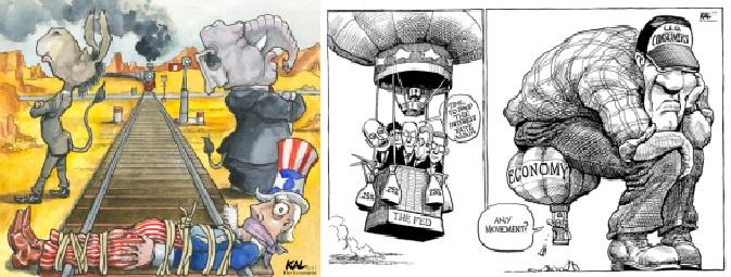 칼의 만평에 단골손님인 '미국 양대 정당'과 '경기부양책'