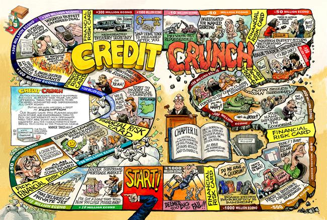 그가 만든 보드 게임. 'CREDIT CRUNCH'(신용 규제).