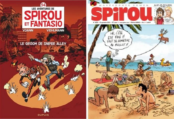 (왼쪽) 『스피후와 풩타지오』의 최근 54번째 정식 시리즈. 2014년 작 'Le groom de Sniper Alley'편 (오른쪽) 잡지 《스피후》의 2015년 9월 2일자 최근호. 무려 No. 4038