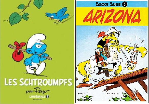 『스머프(Les Schtroumpfs)』『루키 루크(Lucky Luke)』등 잡지 《스피후》의 대표 작품들. 국내에는《땡땡》보다 상대적으로 덜 알려졌으나 우리가 아는 유럽 만화의 대표적인 작품들이 대부분 이 잡지를 통해 연재되었다.