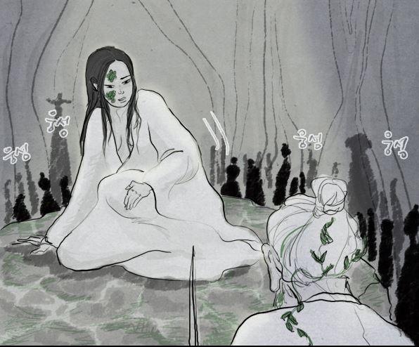 진홍의 미움을 얻어 달래라는 이름도 빼앗기고 막만이라는 이름을 얻은 그녀는 설상가상 산주인의 제물로 받쳐진다. 너무나도 원통했던 것인지 자신을 돕지 않은 묘진에게 저주를 걸었다.